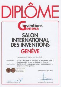 2016 Brązowy Medal na Międzynarodowej Wystawie Wynalazków w Genewie ROBWELD