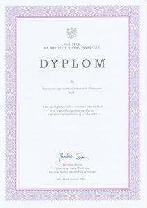 2016 Dyplom MNISZW Za szczególną aktywność w promocji polskiej nauki