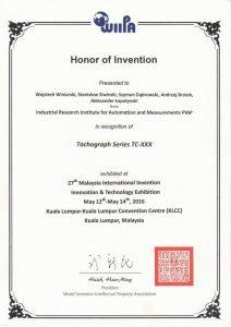 2016 Nagroda Specjalna ITEX WIIPA Tachograf TC-XXX