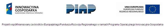 Logotypy INNOWACYJNA GOSPODARKA Narodowa Strategia Spójności, PIAP, UNIA EUROPEJSKA Europejski Fundusz Rozwoju Regionalnego
