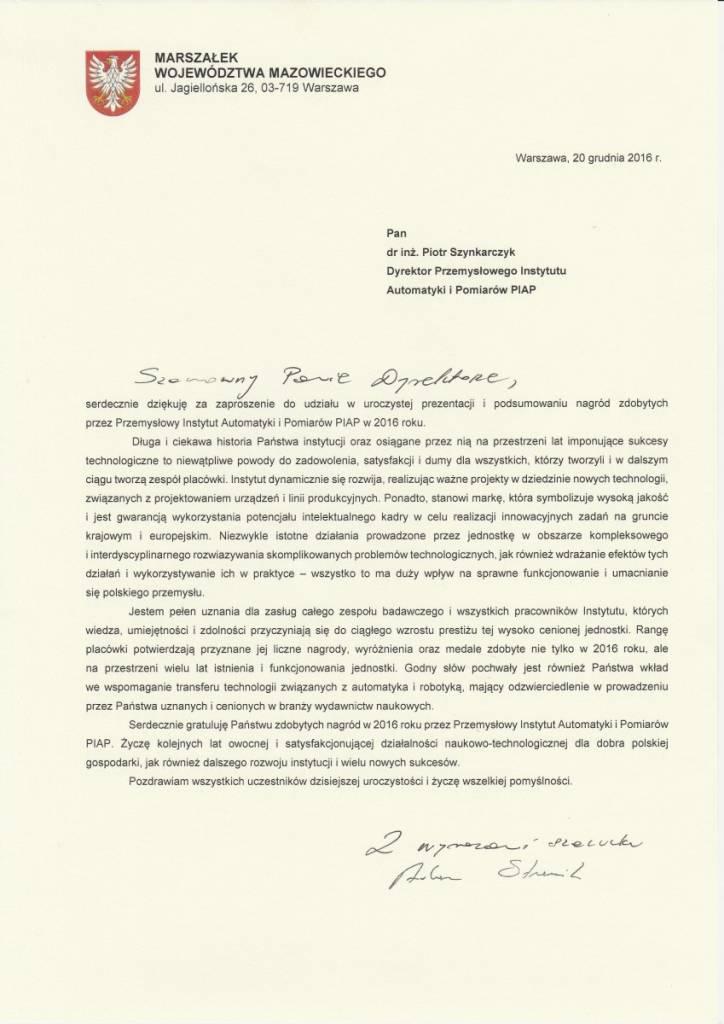 list gratulacyjny od Marszałka Województwa Mazowieckiego Adama Struzika