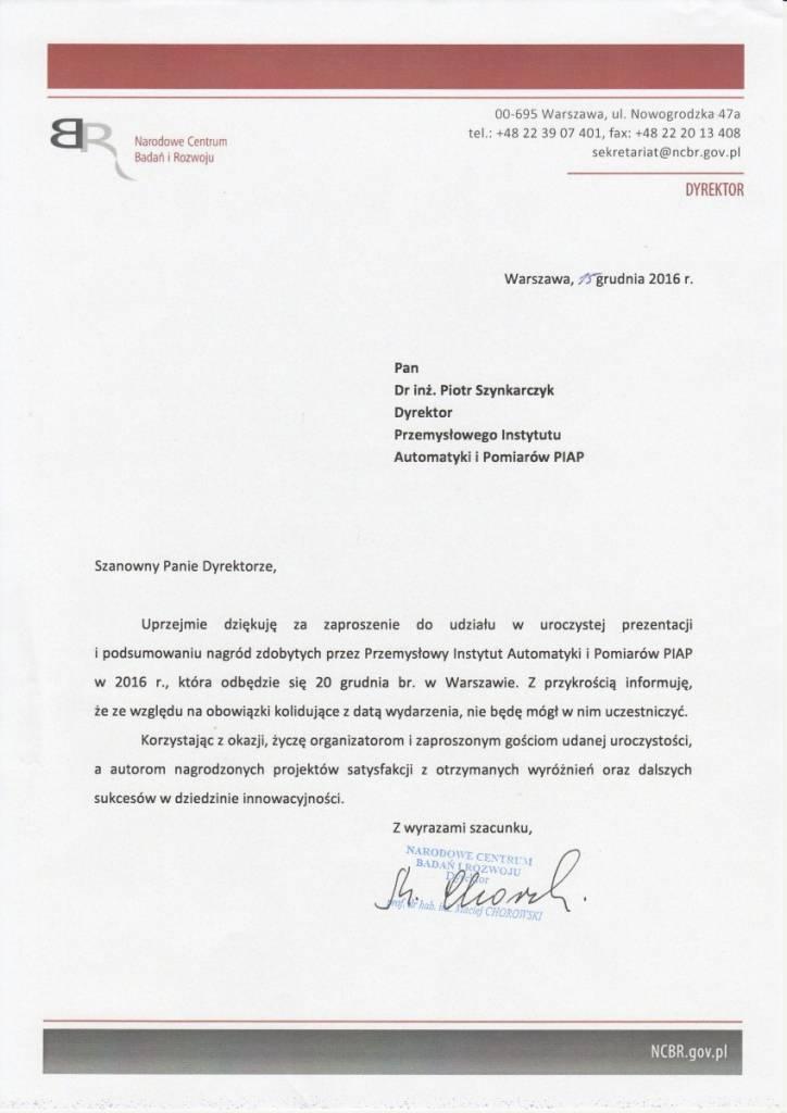 list od dyrektora Narodowego Centrum Badań i Rozwoju prof. dr. hab. inż. Macieja Chorowskiego