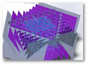 Model CAD prostopadłościanu (niebieski) wraz z przykładowym narzędziem do tworzenia własnej geometrii wewnętrznej