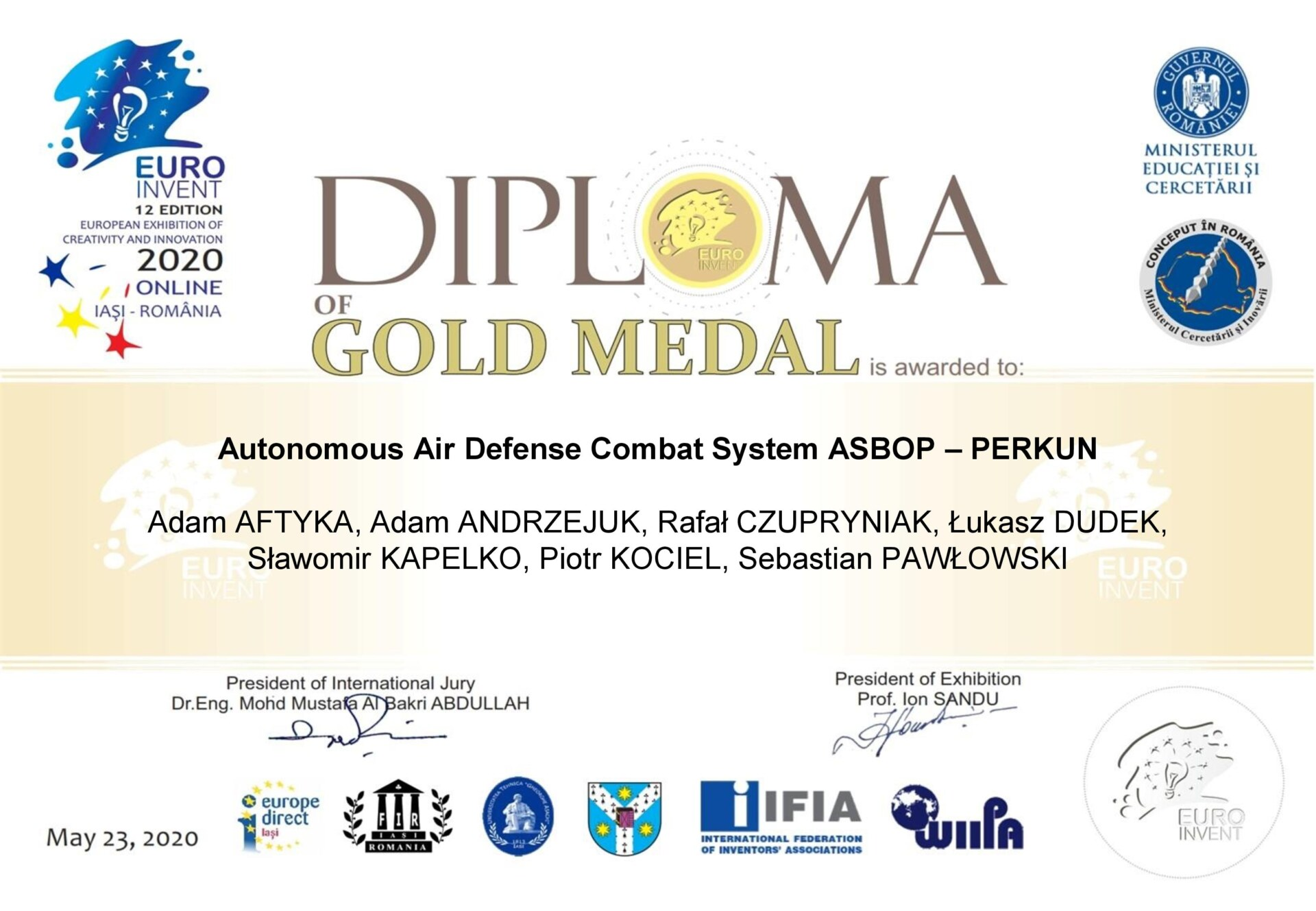 DIPLOMA Of Gold Medal