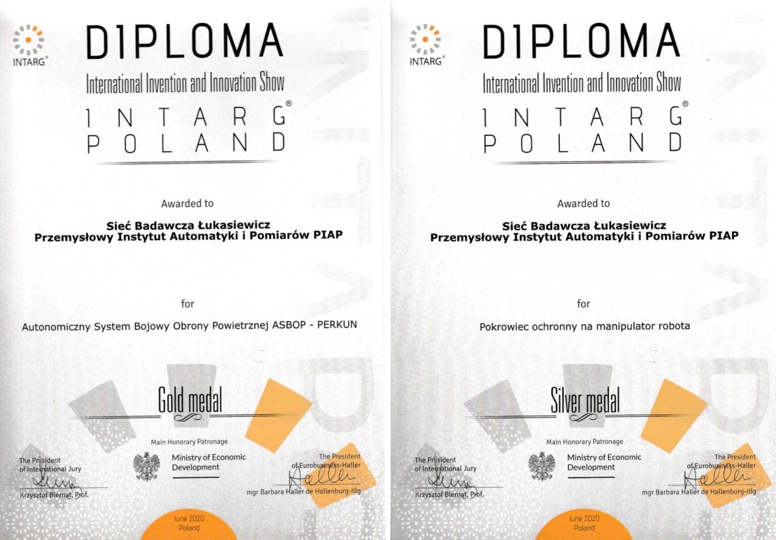 dwa dyplomy Intarg ok