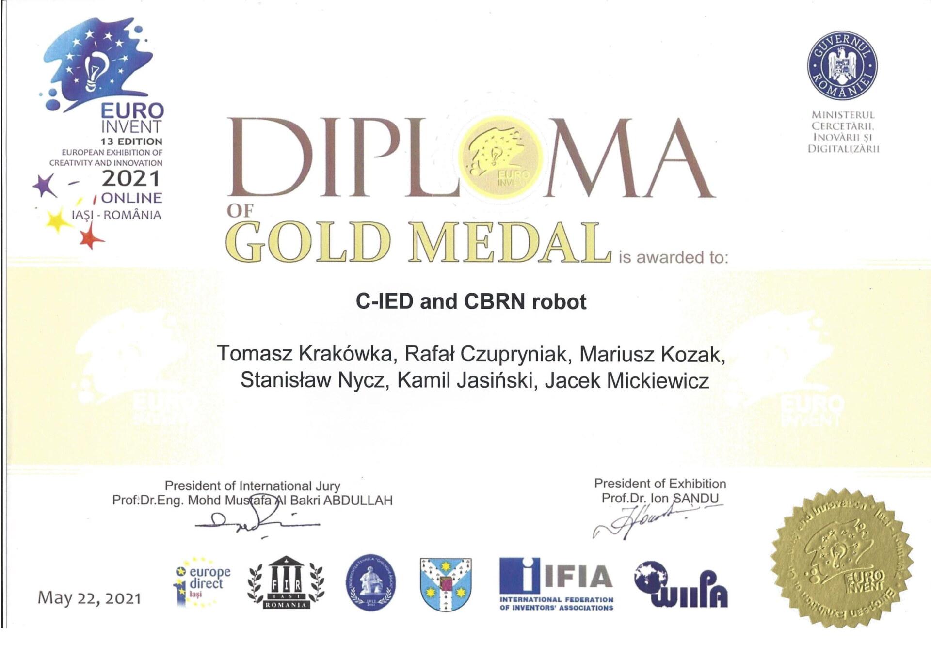dyplom wystawy Euroinvent dla PIAP Patrol